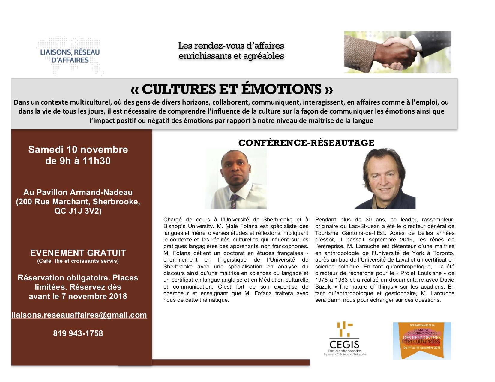 """Samedi, 10 novembre 2018 Brunch d'affaires """"Cultures et émotions"""""""